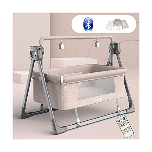 MOZX Elektrische Babyschaukel, Bluetooth Babywippe mit 3 Timerfunktionrn und 5 Schaukelgeschwindigkeiten, Babywiege mit Fernbedienung und Moskitonetz für Neugeborene von 0-24 Monaten,Khaki