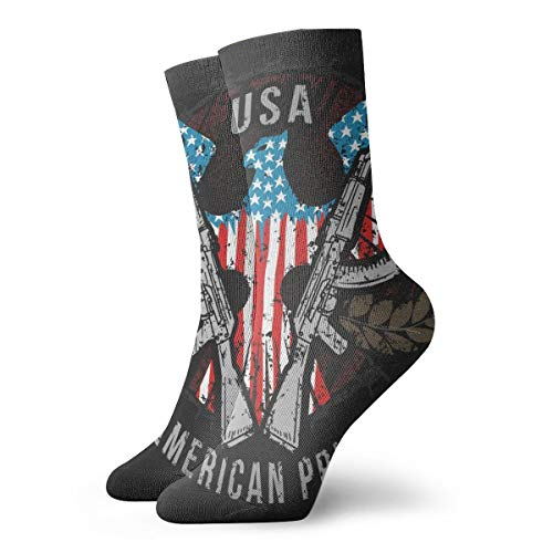 American Eagle USA Flag Pride And Gun Men Womens Funny Crazy Novelty Mid-Calf Socks,Wicking And Breathable Wear-Resistant Crew Socks For Gym Outdoor Sports Running Hiking Basketball