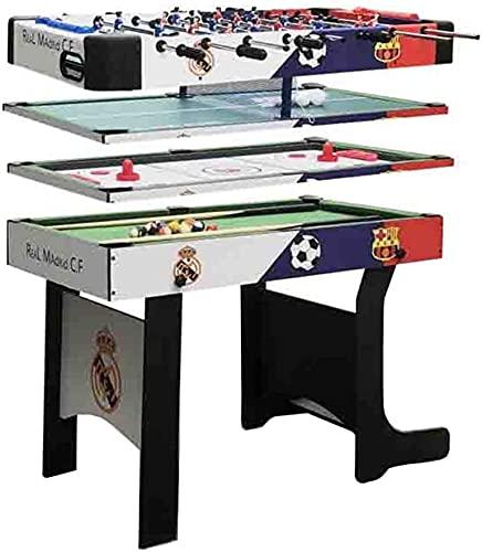DFGER 4 en 1 Mesa de Juego de Deportes, Mesa de Combo Plegable, Mesa de Billar de Piscina, Mesa de Hockey de Aire, Mesa de Ping Pong, Mesa de fútbol mesas de Billar (Color : Through Rod)