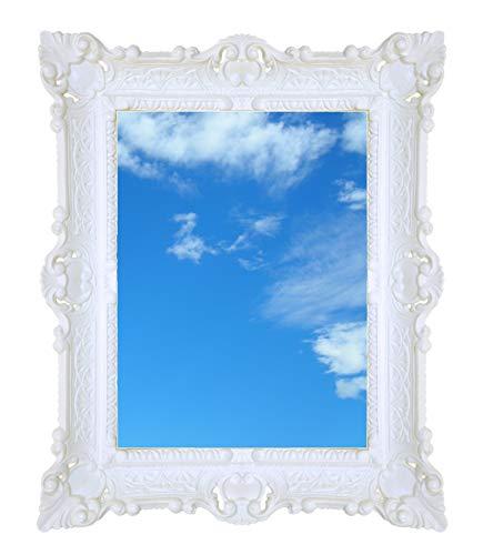 Ideacasa Miroir rectangulaire blanc style baroque Louis XVI 59 x 46 cm