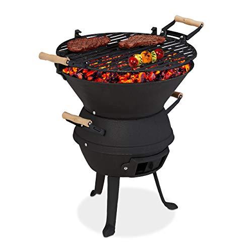 Relaxdays Grillfass, Gusseisen und Stahl, Grillrost Ø 37 cm, Barbecue Holzkohlegrill, höhenverstellbar, tragbar, schwarz