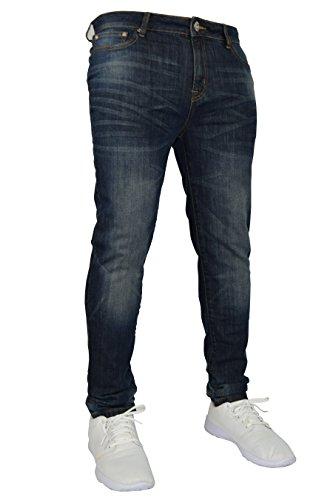 New Herren Stretch Skinny Slim Fit Flex Jeans Hose dehnbar Denim 98% Baumwolle & 2% Stretch Hosen, Skinny, Größe 34W x 30L (34S UK), Farbe Indigoblau
