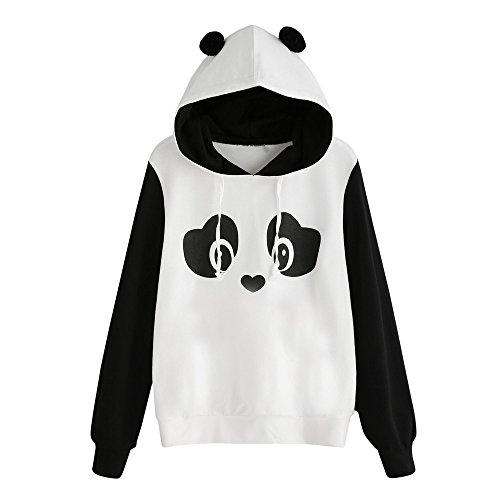 Damen Langarm, Frashing Damen Fleece Jacke Panda Style mit Öhrchen und Panda Gesicht Panda Hoodie Sweatshirt Kapuzenpullover Jumper Tops Bluse (XL)