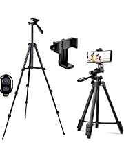 Telefonstativ, kamerastativ och trådlös Bluetooth-kontroll med telefonhållare för actionkamera/DSLR-kamera/smartphone iPhone-stativ, lätt resestativ