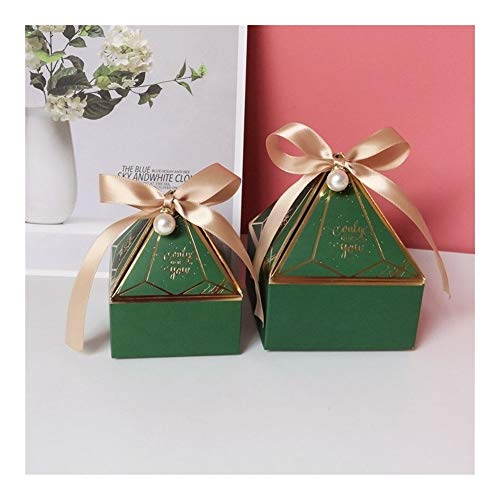 Homeilteds Süßigkeit-Kasten Kleiner Karton Wedding Card Box DecorationPaper Geschenkkarton Verpackung Event & Partyangebot Presents (Color : Green, Gift Bag Size : S 7x7x8 cm)