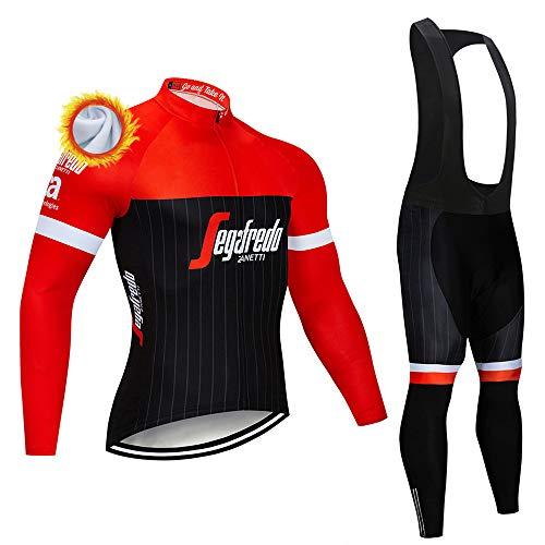 Abbigliamento Ciclismo Uomo Termica Maglia MTB Invernale Maniche Lunghe e Pantaloni Lunga Bicicletta con 3D Gel Imbottiti Completo Ciclismo Invernale Team