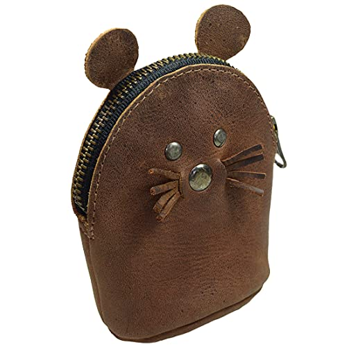 Hide & Drink, Leather Mouse Coin Purse, Cash & Cable Organizer, Card Holder, Cute Accessories, Handmade Includes 101 Year Warranty :: Bourbon Brown