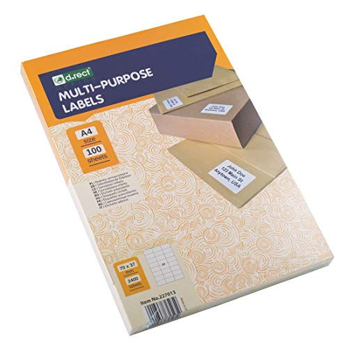 D.RECT Klebeetiketten Universal-Etiketten (70x37mm auf DIN A4) bedruckbar selbstklebend 100 Blatt/Packung 24 Etiketten/Blatt 2400 Stücke weiß