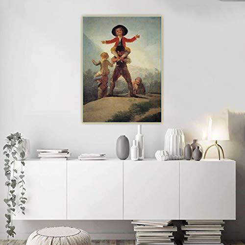 Impresión en lienzo Francisco Goya 《El juego del caballo y el jinete》 Arte en lienzo Pintura al óleo Obra de arte Imagen Fondo de pared Decoración del hogar 70x100cm Sin marco