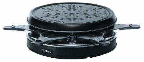 Tefal RE1228 Raclette Cristal Deco 6 (850 Watt , 6 Pfännchen,Kabelaufwicklung) schwarz