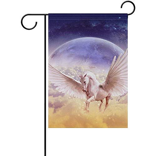 CHANGSHABF Huis Vlag Dier Magic Wit Paard met vleugels Welkom Tuin Vlag 30X45Cm Yard Tuin Vlag Voor Patio Gazon Outdoor Home Decor