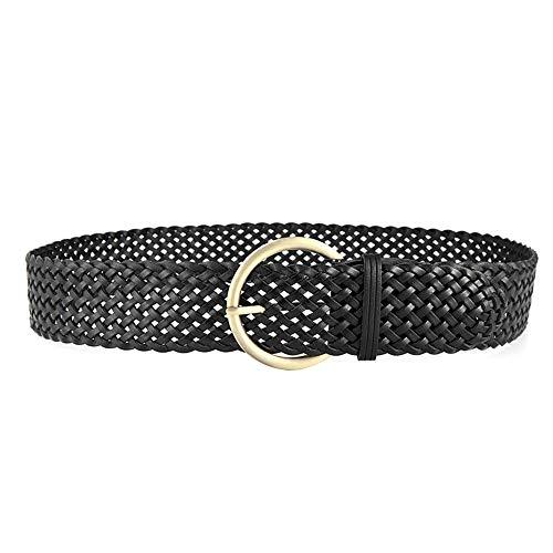 Cinturón trenzado, Cinturón de cuero para mujer, Cinturón de cintura de moda con abrigo ancho y levita