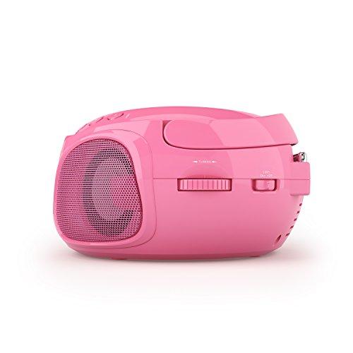 auna Roadie CD-Player - CD-Radio, tragbar, Boombox, LED-Beleuchtung, USB, MP3, UKW Radiotuner, Bluetooth, 2 x 1,5 Watt RMS, Netz & Batterie, rosa