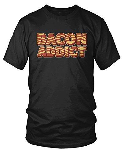 Amdesco Men's Bacon Addict, Pork, Pig Bacon Lover T-Shirt, Black Medium