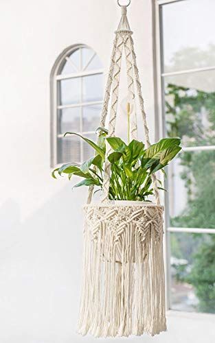 Mkono Macrame Plant Hangers Boho Chic Indoor Hanging Planter Basket Vintage Style Fringed Flower Pot Holder Rope Home Decor, 44 Inch