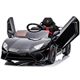 Kidzone Kids Electric Ride On 12V Licensed Lamborghini Aventador Battery Powered Sports Car Toy with 2 Speeds, Parent Control, Sound System, LED Headlights & Hydraulic Doors - Black