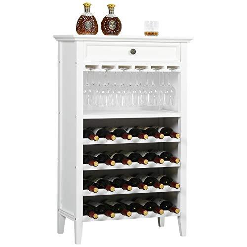 Rustikales Weinschrank aus Holz, Spirituosenschrank mit Schublade, 24 Flaschenhalter und Glashalterregal ,Weinregal-Präsentationsregale für das Esszimmer in der Küche