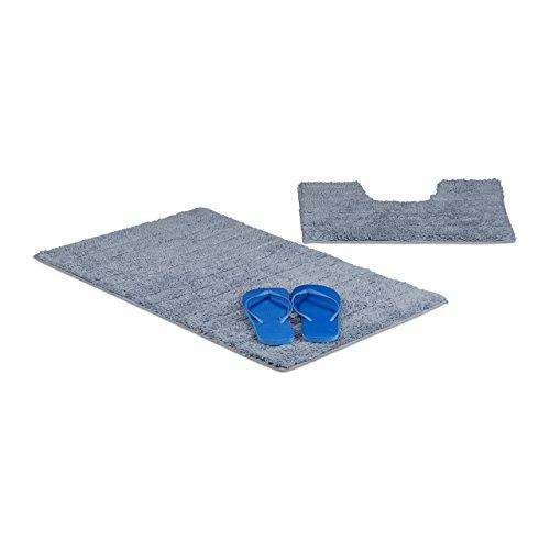 Relaxdays 2-delige badaccessoireset, streep ontwerp, voor verwarmde vloer, wasbaar, badmat en voetstuk toiletmat, 80 x 50 cm, grijs