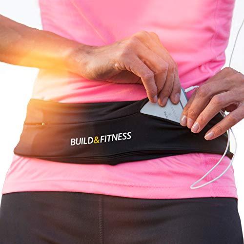 Build & Fitness Marsupio Running – Cintura Palestra e Porta Cellulare da Corsa con Gancio Portachiavi – Compatibile con iPhone,Samsung. Unisex