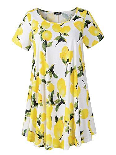 Veranee Women's Plus Size Swing Tunic Top Short Sleeve Floral Flare T-Shirt (XXX-Large, 56-9)