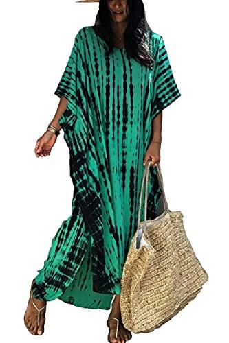 L-Peach Vestido de Playa Caftán Bohemio para Mujer Ropa de Estar Encubrimientos Bata Pareos
