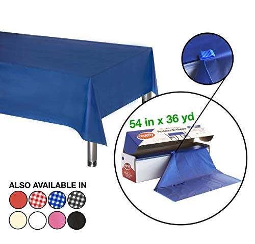 Neatiffy 54 Inch x 108 Voet Dikke Plastic Tafelkleed Roll Party/Banket, Duurzame Tafelhoes (Herbruikbaar/Verwijderbaar) Tafelkleden voor Rechthoek/Rond/Vierkante Tafels, 12 Picknick Pack Royal Blauw