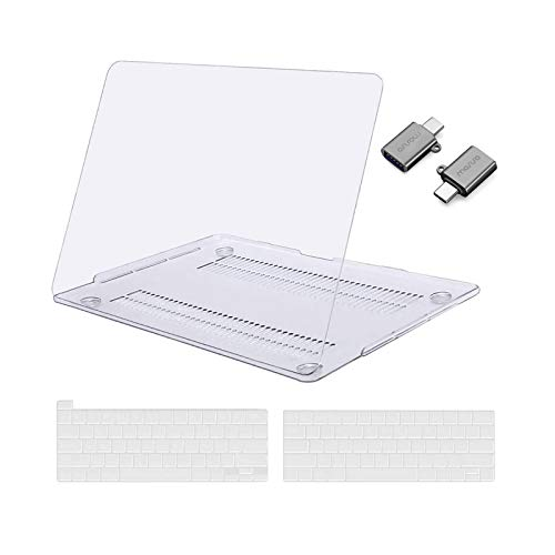 MOSISO MacBook Pro 13 inch Case 2016-2020 Release A2338 M1 A2289 A2251 A2159 A1989 A1706 A1708, Plastic Hard Shell Case&Keyboard Cover&Type C Adapter Compatible with MacBook Pro 13 inch, Crystal Clear