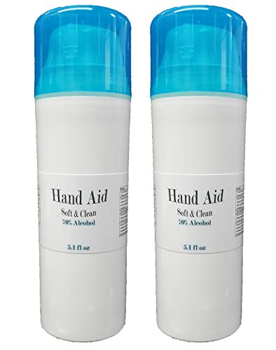 2x Hand Aid 70% Alcohol 5oz Premium Soft & Clean USA Made