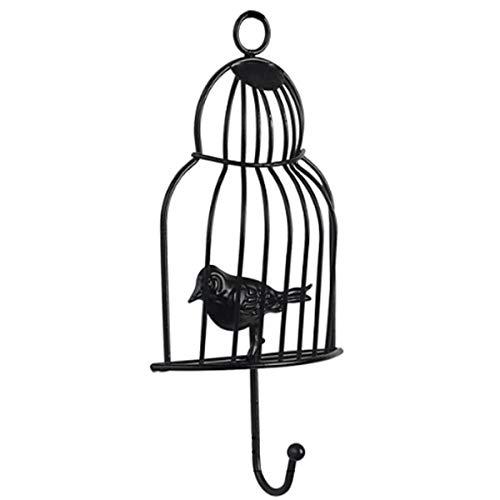 IHOOKS Perchero de Pared Hierro Forjado Jaula De Pájaros Gancho Gancho Adecuado para Cocina Sala de Estar Dormitorio Habitación Infantil Black(1)-10.5 * 21.7 cm