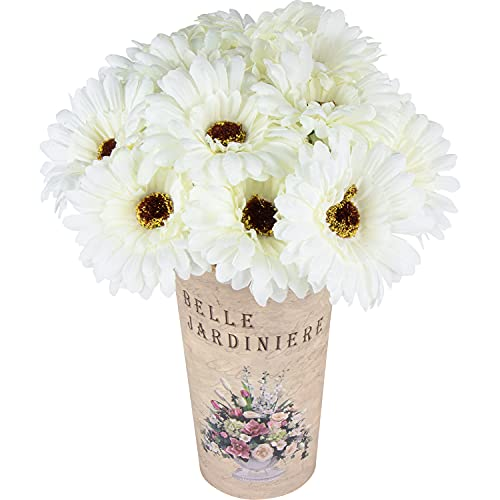 15 Piezas de Flores de Margaritas de Seda Artificial Flores de Gerbera Falsas Ramo de Novia para el Banquete de Boda en casa decoración de Centro de Mesa DIY (Blanco)
