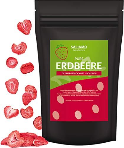 Saliamo gefriergetrocknete Erdbeeren - Erdbeeren getrocknet - Erdbeerchips - in Scheiben - pure Frucht - 100 % Erdbeeren - 200g Packung