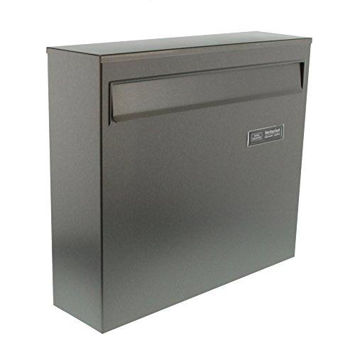 BURG-WÄCHTER Edelstahl-Briefkasten mit Öffnungsstopp, A4 Einwurf-Format, EU Norm EN 13724, Borkum 3878 Ni, Edelstahl