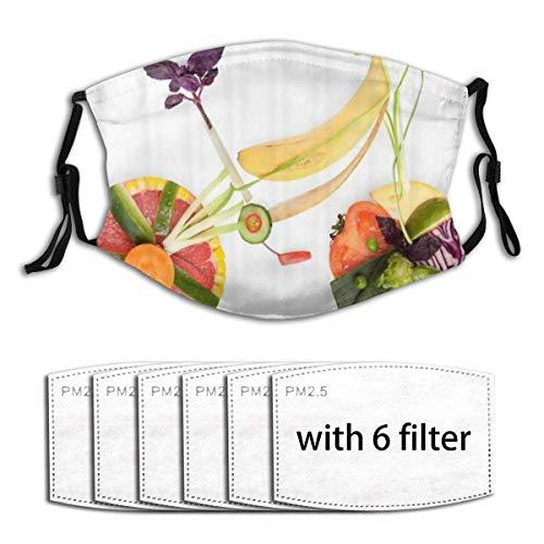 ZORMIEY Face Cover Obst und Gemüse Karotte Banane Pfeffer Zwiebel Knoblauch Lebensmittel Cartoon-Stil Wiederverwendbare Anti-Staub-Mund-Bandanas mit 6 Filtern