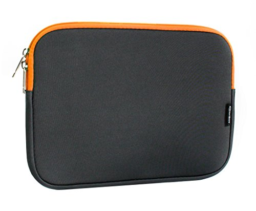 emartbuy Dunkelgrau/Orange Wasserdicht Neopren Soft Zip Case Cover Hülle Mit Orange Innenraum Und Reißverschluss 11-12 Zoll Passend für Ausgewählte Geräte Unten Aufgeführt