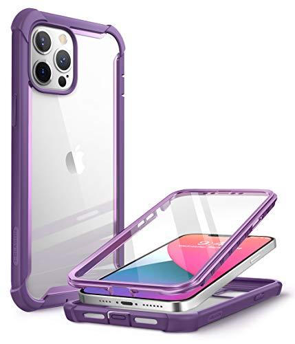 i-Blason Serie Ares - Cover iPhone 12 PRO Max con Pellicola Protettiva 360 Gradi Custodia Rugged Case, TPU Bumper, Retro Trasparente, Viola