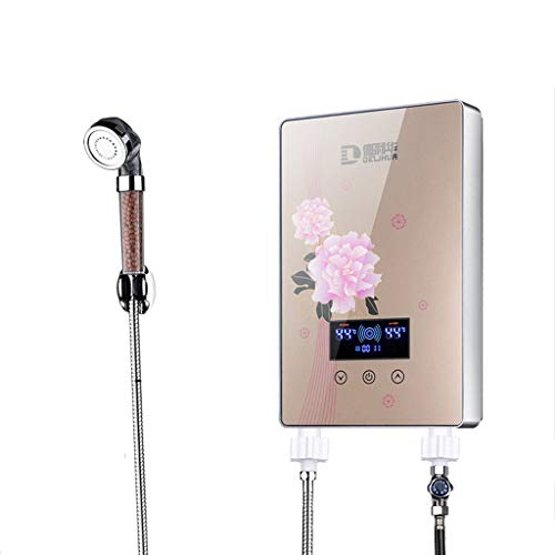 LYHY Calentador electrónico de Agua Caliente para baño instantáneo de 8kW con Pantalla LCD (Color: Negro)