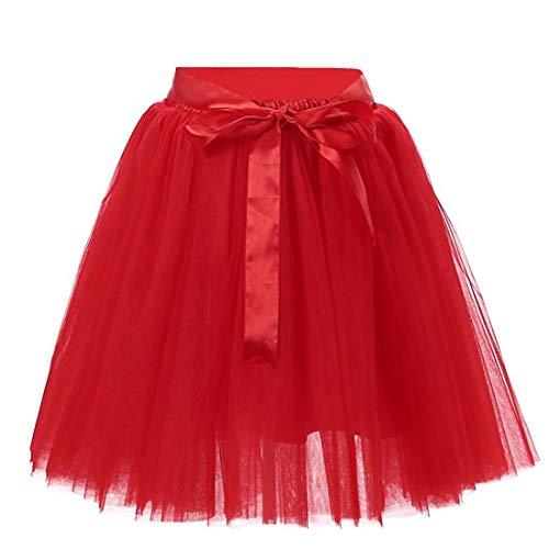 Damen 7 Schichten Knielang Tüllrock Tutu Tüll Kleid Rock Reifrock Abendrock Rot