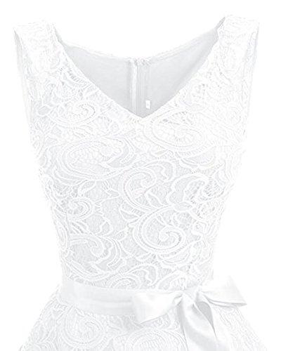 Kidsform Damen Spitzen Kleider Ärmellos V-Ausschnitt Partykleid 50er Jahre Abendkleider Cocktailkleid Elegant für Hochzeit Ballkleid Weiß EU 38-40/Etikettgröße M - 6