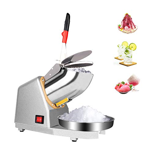 Electric Ice Crusher, 187 lbs/hr Snow Cone Maker Machine, 110V 380W Ice Shaver, Dual Stainless Steel...