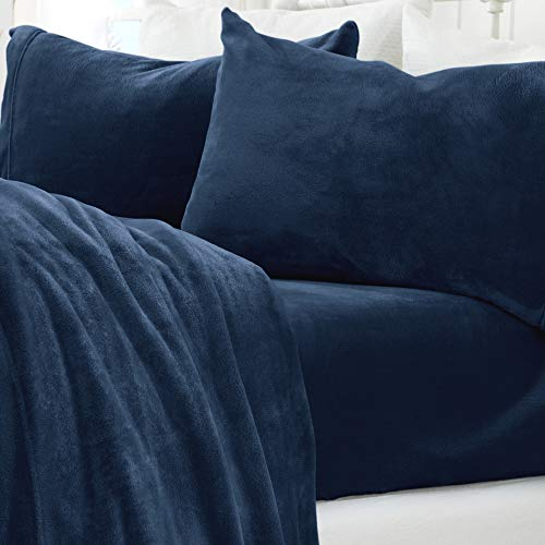 Micro Fleece Extra Soft Cozy Velvet Plush Sheet Set. Deluxe Bed Sheets with Deep Pockets. Velvet Luxe Collection (Full, Denim Blue)