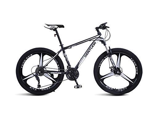 DGAGD Rueda Tri-cortadora de Bicicleta de Velocidad Variable de Bicicleta de montaña de 26 Pulgadas-En Blanco y Negro_21 velocidades
