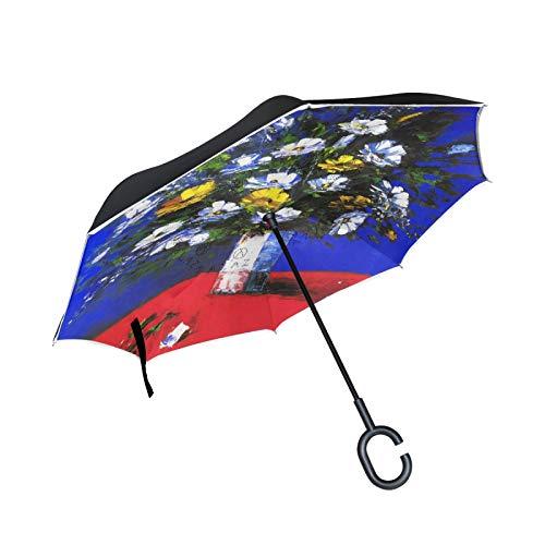 Doodle Dachshund - Paraguas invertido de doble capa, con mango en forma de C, plegable, resistente al viento, paraguas grande de pie para uso al aire libre