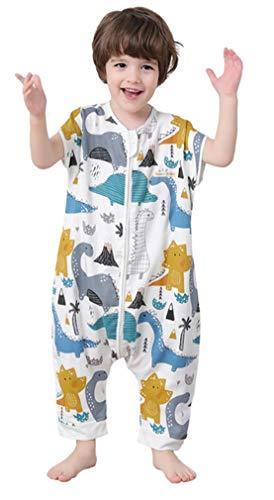 Chilsuessy Baby Sommer Schlafsack mit Fuesse Unisex Kurzarm Babyschlafsack mit Beinen Unwattiert Einteiler Overall Spielanzug Schlafanzug, Dinosaurier, 90/Baby Hoehe 95-105cm