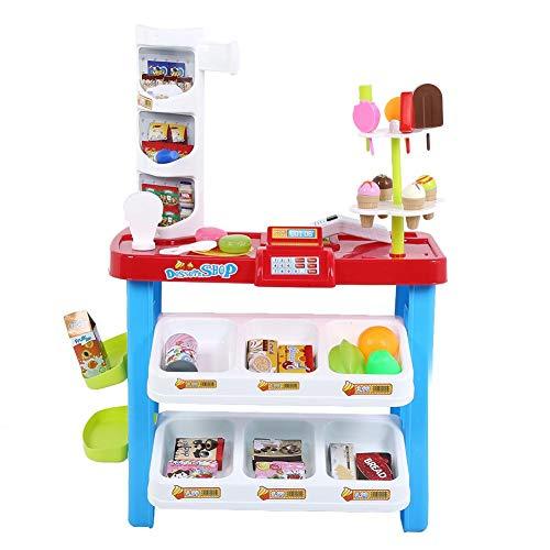 Akozon Fantasiespel Speelgoed Gesimuleerde supermarkt Elektronische kassa Bureau Winkelwagen(76x56x27cm)