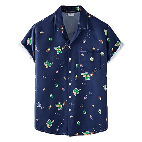 T-Shirt Hombre Estilo Hip Hop Estampado Vintage con Cuello En V Hombre Shirt Ocio Verano Transpirable Botones Tapeta Bolsillos Shirt Manga Corta Tendencia Hawaii Hombre Shirt Playa XH73 M