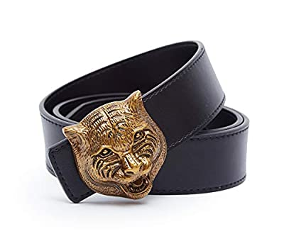 "XYZDOUBLE Unisex Tiger head Style Women Men Cowhide Genuine Leather Casual Dress Belt [3.8CM Width] (Tiger Head, 105CM Waist 30~33"")"
