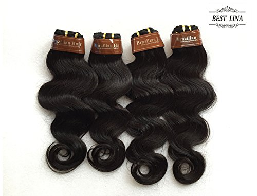 BEST LINA Lot de 4 extensions de cheveux humains brésiliens vierges ondulés 50 g/pièce 200 g (50,8 cm, 50,8 cm, 55,9 cm, 55,9 cm)