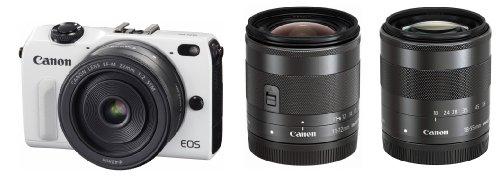 Canon ミラーレス一眼カメラ EOS M2 トリプルレンズキット(ホワイト) EF-M18-55mm F3.5-5.6 IS STM EF-M22mm F2 STM EF-M11-22mm F4-5.6 IS STM付属 EOSM2WH-TLK