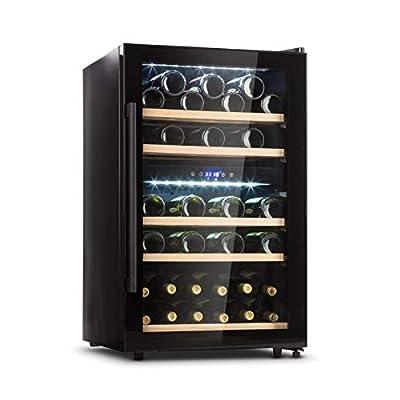 Klarstein Barossa Duo - Wine Cooler with Glass Door, Wine Cooler, Wine Fridge, 2 Zones, 5 to 18 ° C, Quiet: 42 dB, LED, Touch, Door Stop Both Sides, Height Adjustable - Black, 41 Bottles by Klarstein