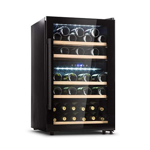 KLARSTEIN Barossa - Refrigerador para vinos, 2 Zonas, Temperatura Regulable 5-18 °C, Estantes de Madera rebatibles, Pantalla LCD, Iluminación Interior LED, Puerta de Vidrio, 41 Botellas, Negro